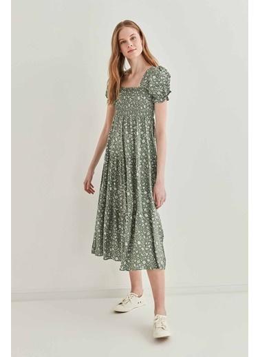 Vitrin Gipeli Balon Kol Uzun Elbise Yeşil